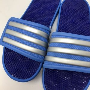 adidas Shoes - Adidas Blue Slides 8 Textured Flip Flop Sandals
